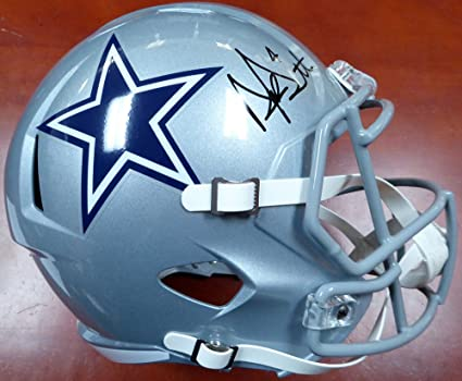 43a45b72a24 Amazon.com: Dak Prescott Autographed Dallas Cowboys Full Size Speed Replica  Helmet - Beckett COA: Sports Collectibles
