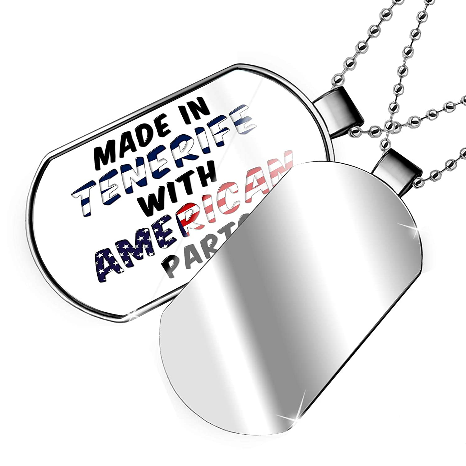 NEONBLOND Personalized Name Engraved American Parts but Made in Tenerife Dogtag Necklace