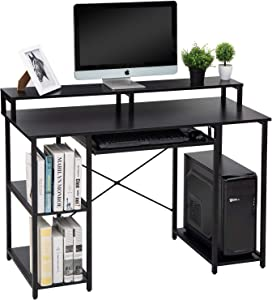 "TOPSKY 47"" Computer Desk with Storage Shelves/Keyboard Tray/Monitor Stand Study Table for Home Office (Black)"