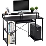 TOPSKY Computer Desk with Storage Shelves/Keyboard Tray/Monitor Stand Study Table for Home Office (Black)…