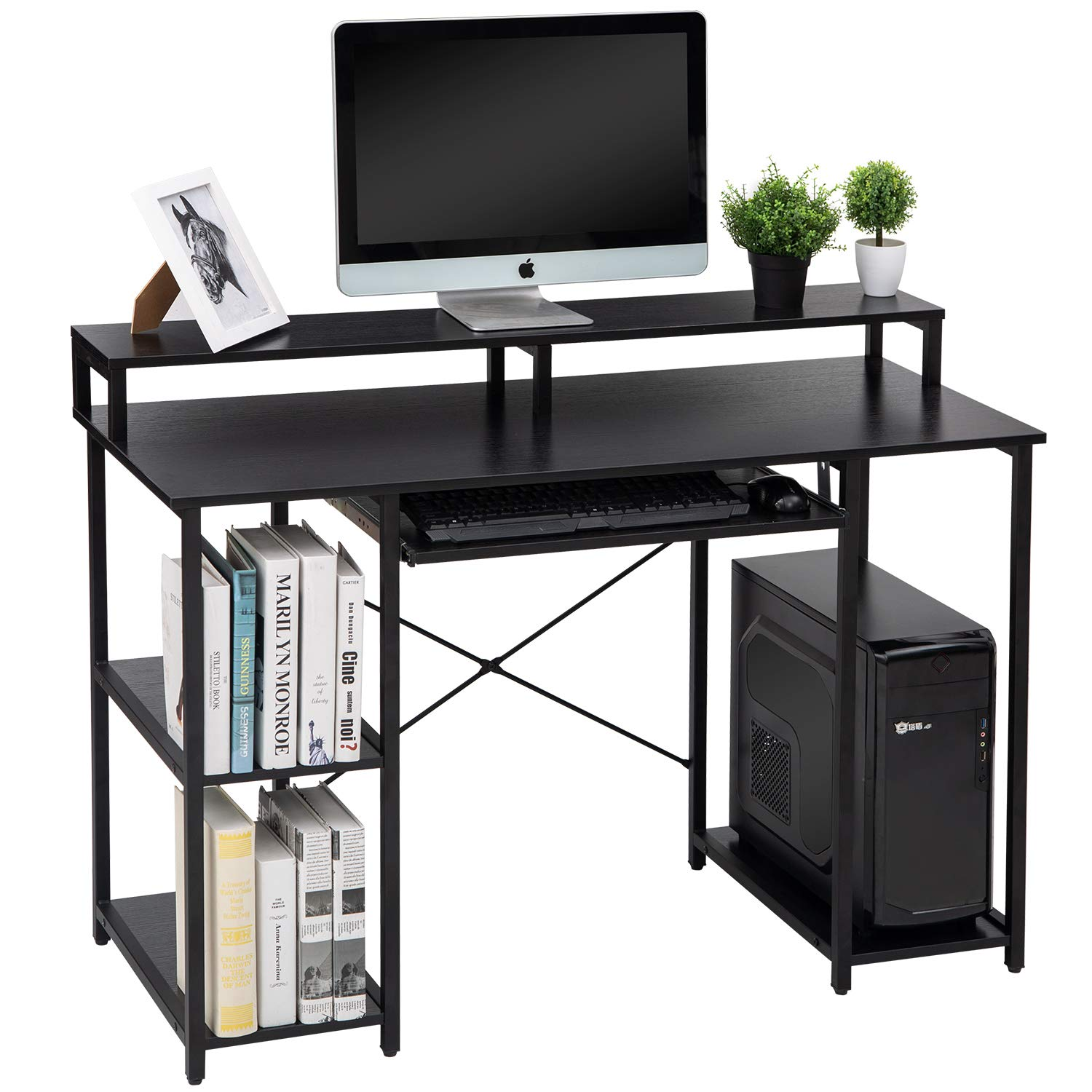 TOPSKY Computer Desk with Storage Shelves//Keyboard Tray//Monitor Stand Study Table for Home Office /… Black