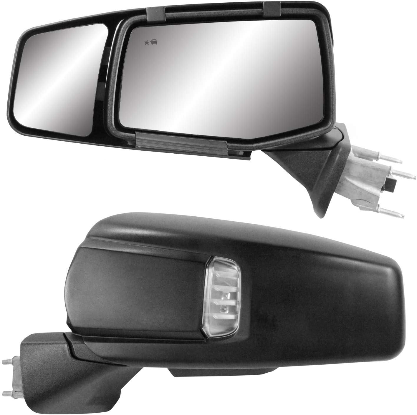 Pair 2019+ K Source 80930 Snap /& Zap Custom Fit Towing Mirror for Chevrolet Silverado 1500//GMC Sierra 1500