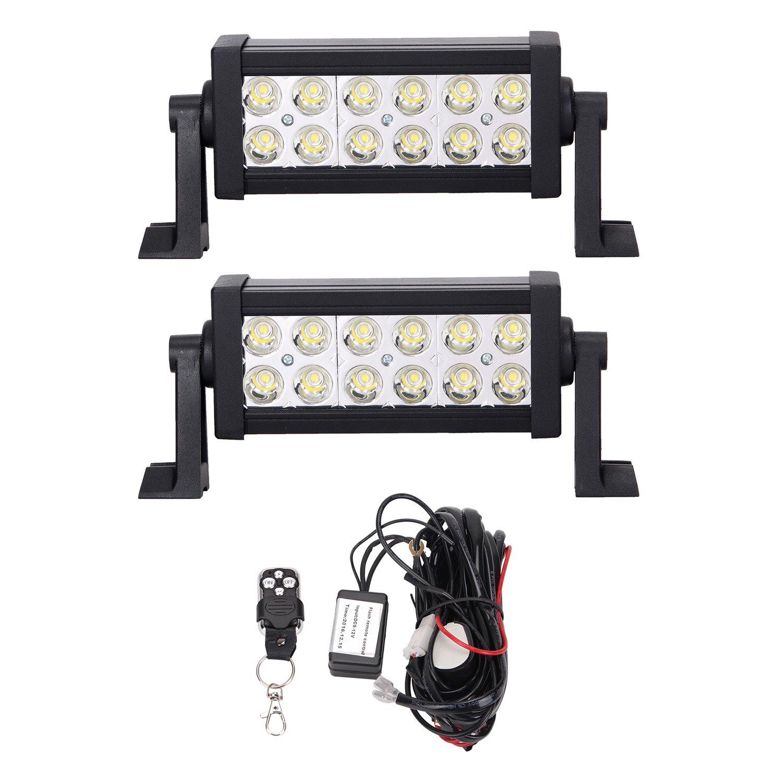 Bangbangche 2X 7'' 36W Spot Waterproof LED Light Bar Off Road Fog Lights,