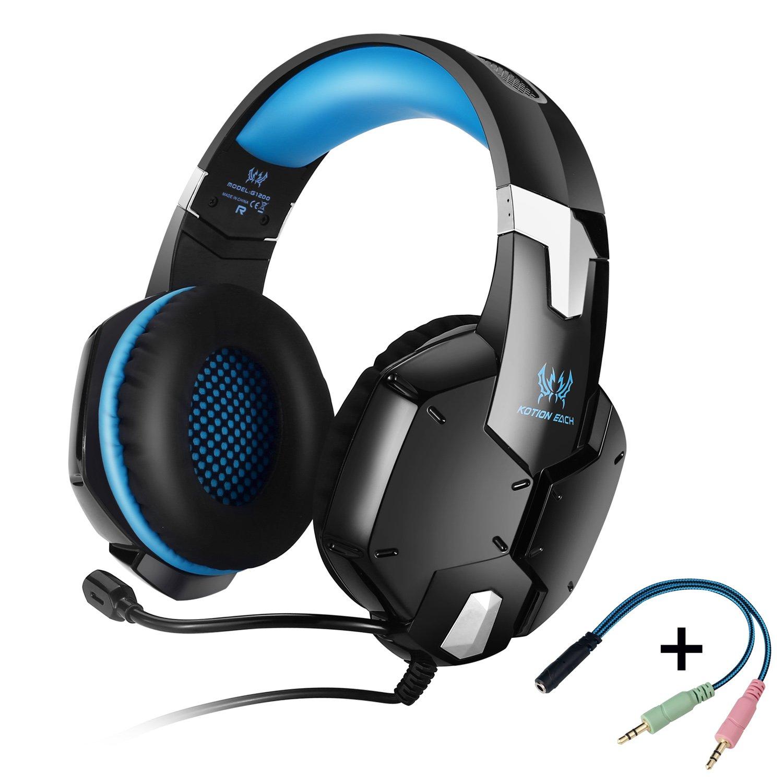 KOTION EACH G1200 Gaming Headset Auriculares 3.5mm para Jueguos de Diadema con Micrófono para Videojuegos Stereo Bass para PS4 PC Laptop Celulares(Azul+Negro)