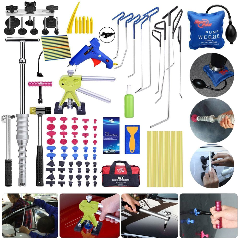 Super PDR 98Pcs Auto Body Paintless Dent Repair Tool for Hail Damage Vehicle Dent Repair Door Dings Removal PDR Rods Tips Kit Sets