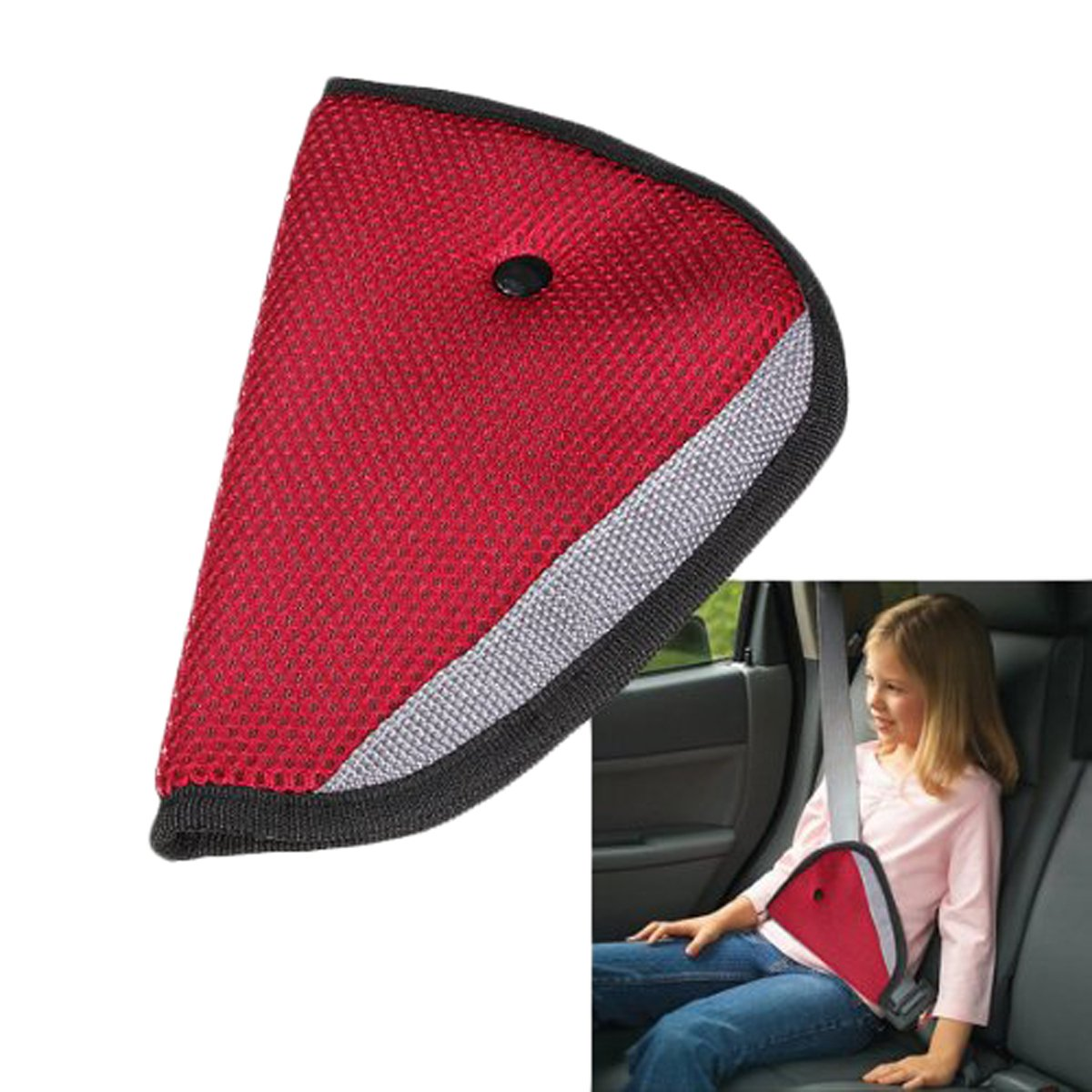 Edtoy Kids Car Seatbelt Adjuster Child Safety Cover Harness Pad Seat Belt Strap Adapters (Red)