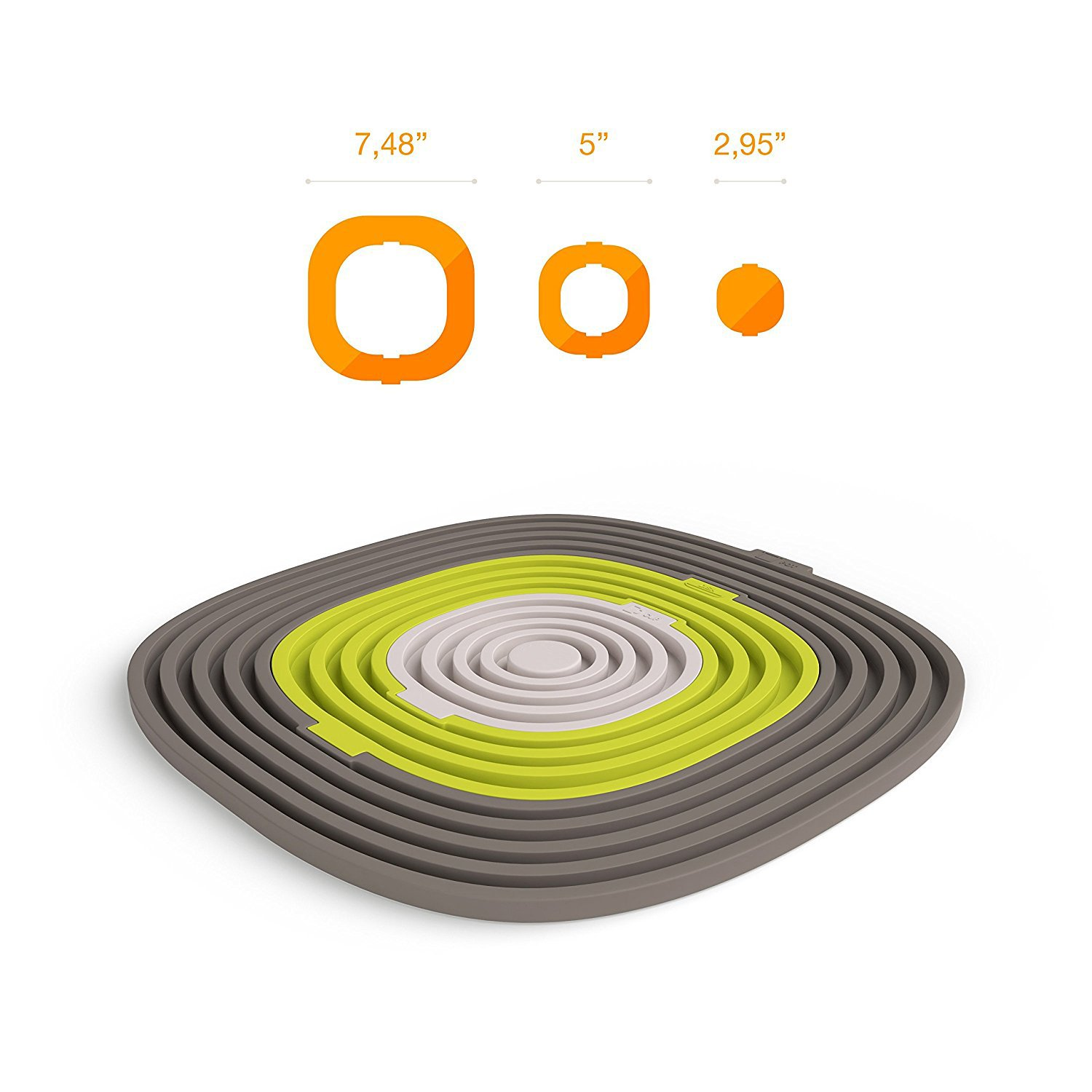 round Hot Pod Non Slip Coasters Collapsible Large Silicone Trivet mat Spoon Rest gray Heat Resistant