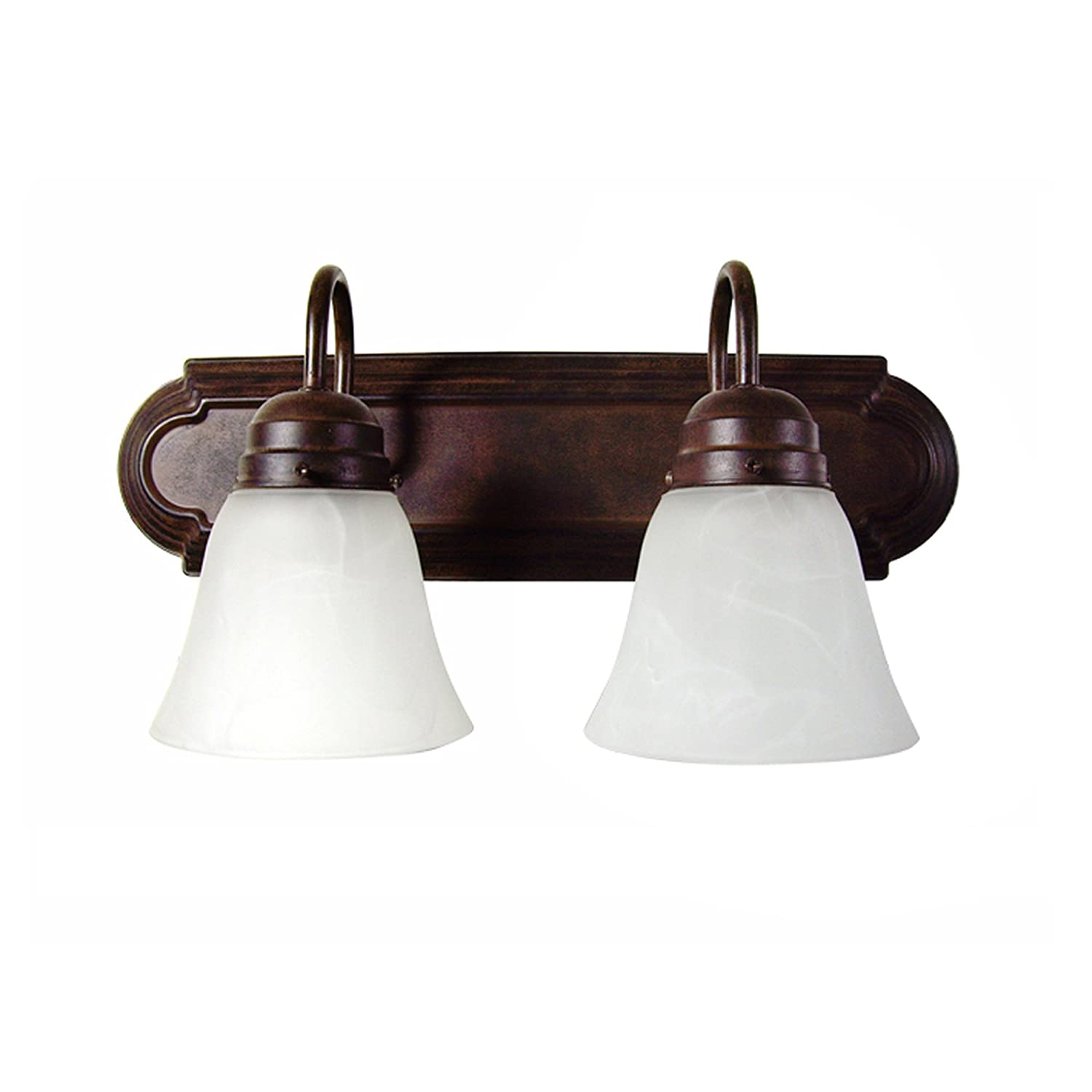 AA Warehousing L22-DB Modern, Transitional, Traditional 2 Light Bathroom Vanity Fixture Dark Brown with White Glass by
