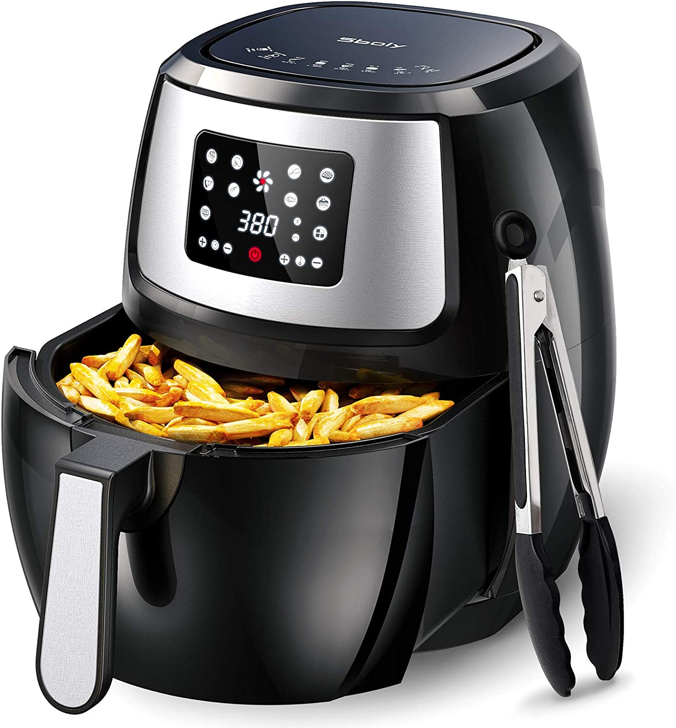 Sboly 8 in 1 Air Fryer, 8.9 Qt with LCD Digital Touch Screen including Cooking Tongs and Recipe Book, Airfryer with Water-based Non-stick Coating Grill Shelf and Frying Basket