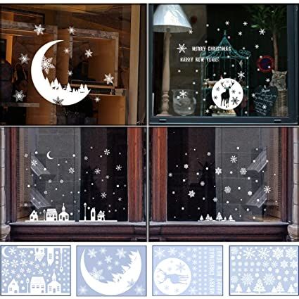 shxstore christmas window decorations clings decal glass stickers of snowflake moon castle reindeer christmas tree for - Christmas Window Decorations Amazon