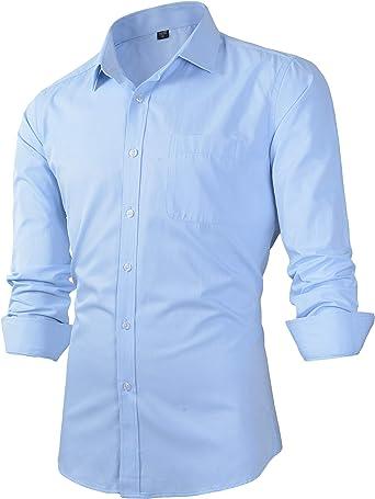 Camisa de Vestir con Cuello de Punto sólido y Ajuste Entallado para Hombre: Amazon.es: Ropa y accesorios