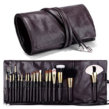 81caca45d3 Travelmall Makeup brush rolling case pouch holder Cosmetic bag organizer  Travel portable 18 pockets Cosmetics Brushes