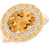 Angara Sideways Oval Citrine Double Halo Cocktail Ring