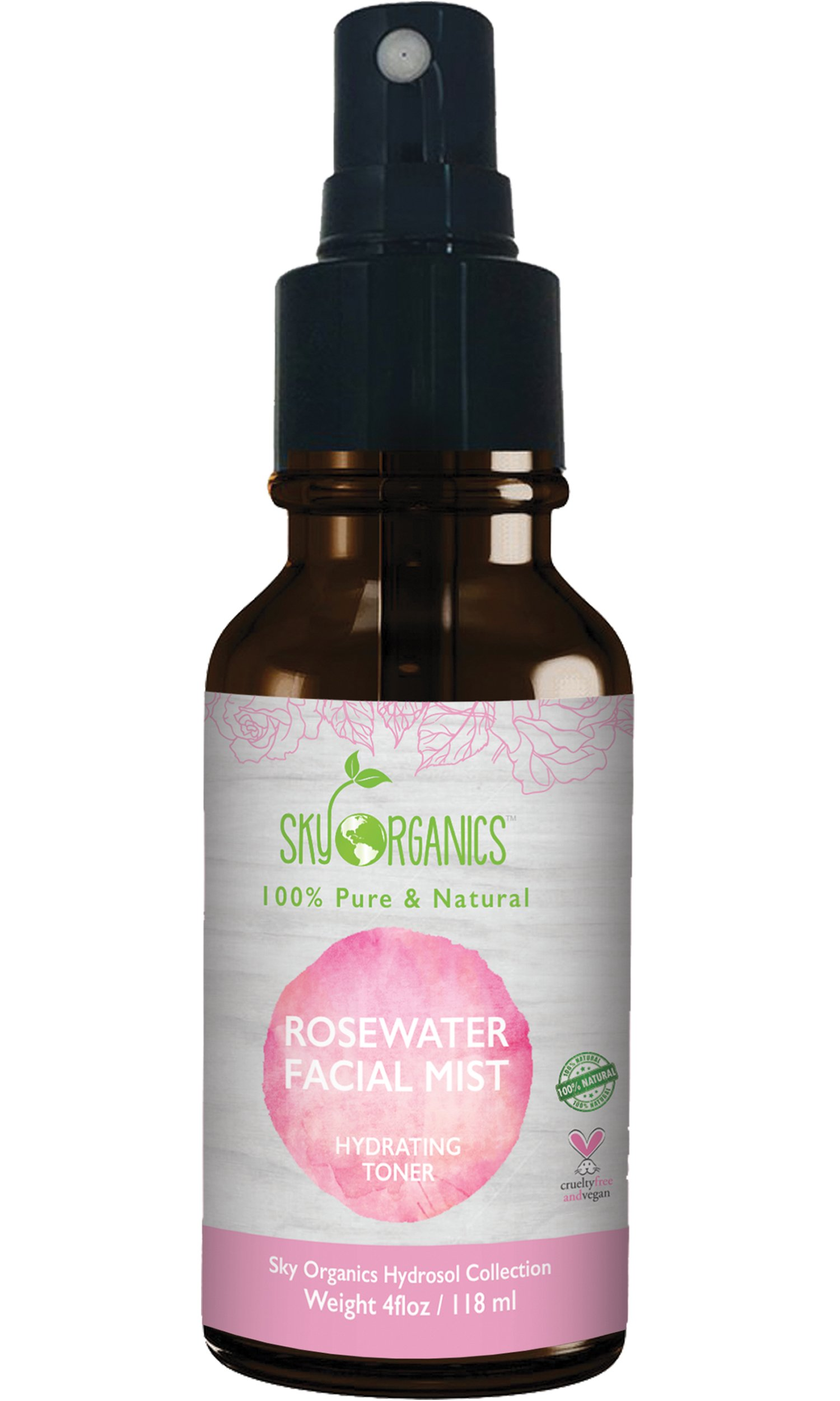 Organic Rose Water Toner by Sky Organics 4oz-100% Pure, Organic Distilled Rosewater Toner For Face And Hair- Best Gentle Facial Cleanser -Preps Dry & Acne Prone Skin for Serums, Moisturizers & Makeup