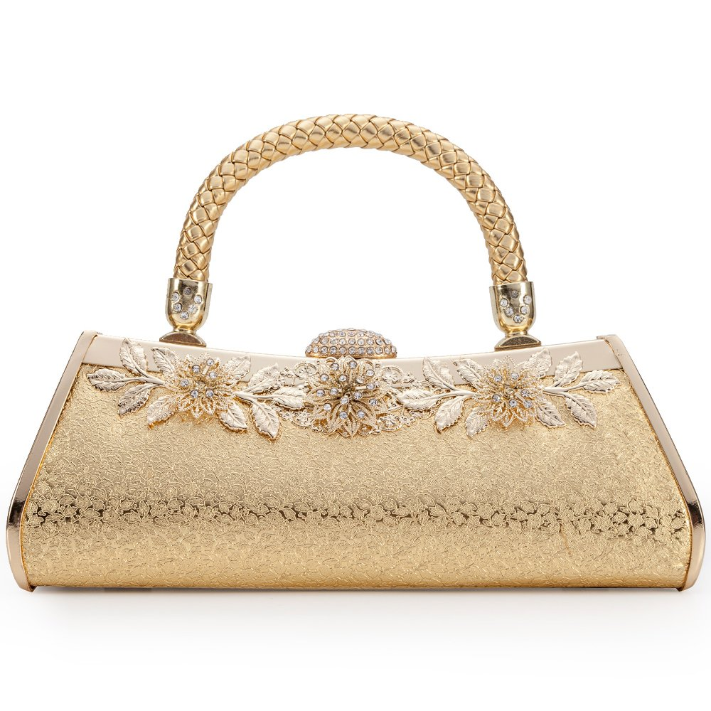 Womans Evening Clutch Bag Wedding Gold Purse Bridal Prom Handbag Party Bags Metal Frame Hard Case With Embossing Flowers Decor (Gold 1) by LONGBLE