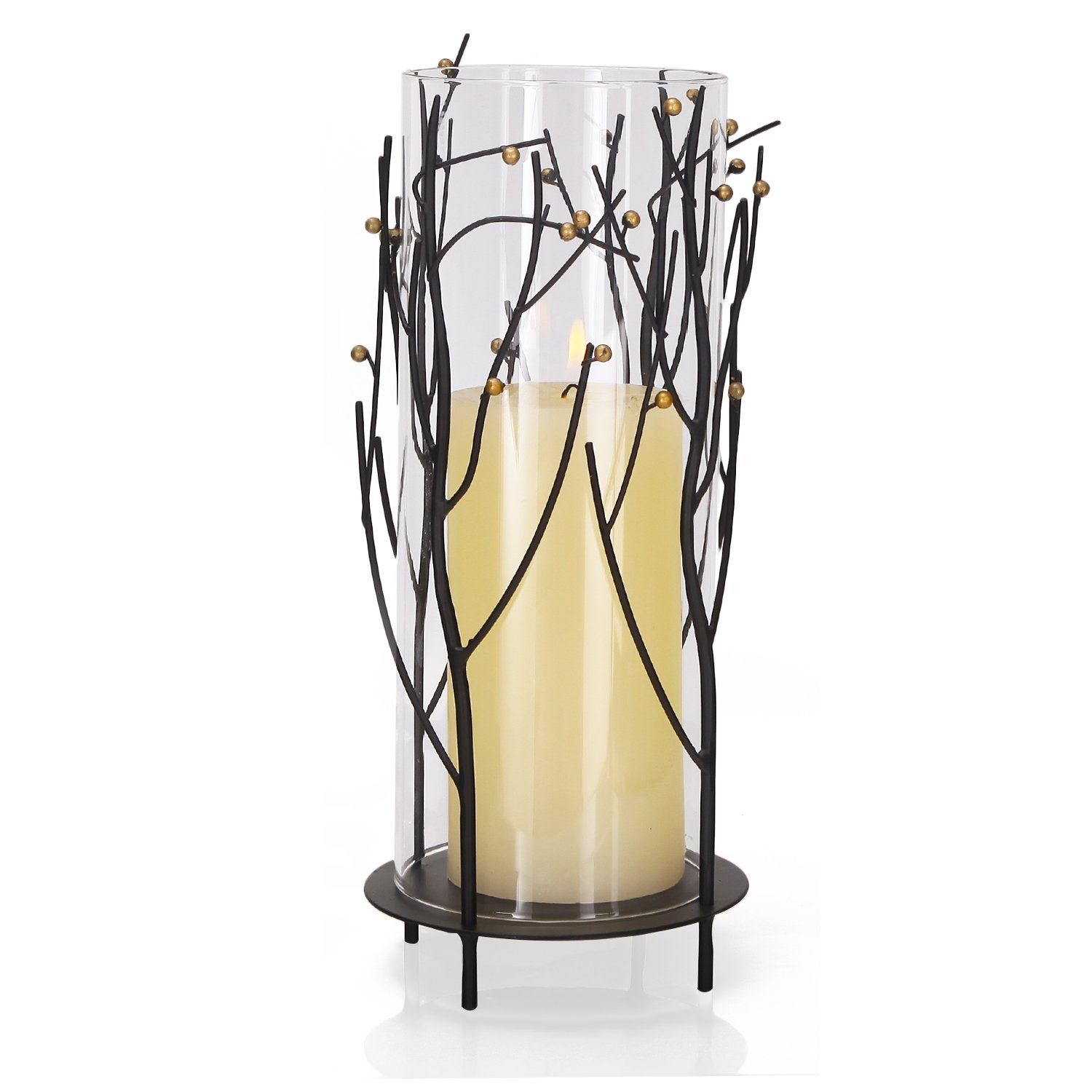 Homebeez Decorative Iron Table Standing Candle Holder, Tree Branches Style, Black