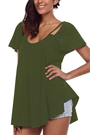 711112d444565 Women Shirt Short Sleeve Top Cut Out Cold Open Shoulder Blouse