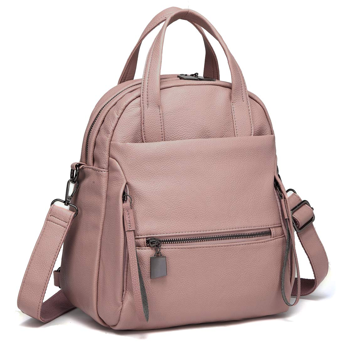 Kasqo Backpack Purse, Women Convertible Faux Leather Ladies Shoulder Bag Pink