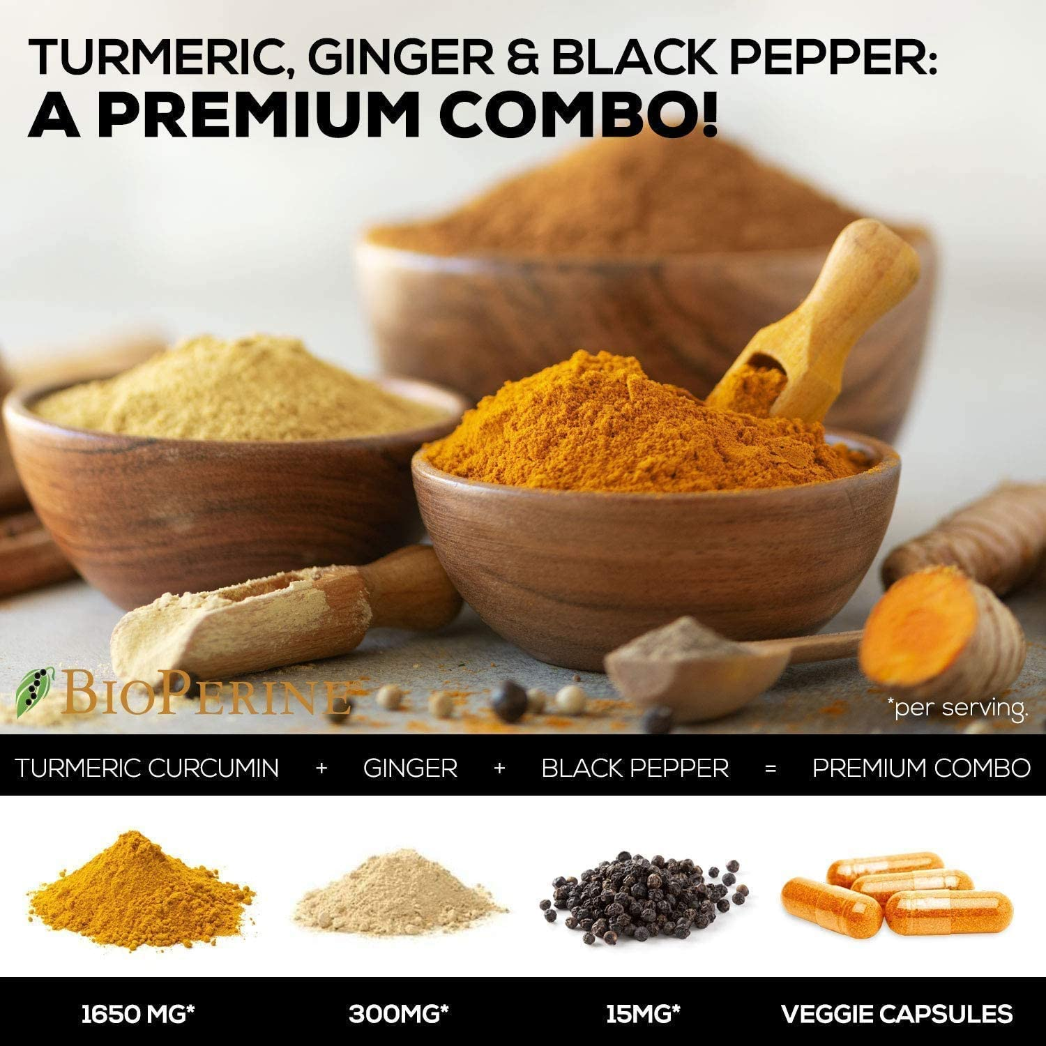 Turmeric Curcumin 95% Curcuminoids with BioPerine and Ginger 1950mg - Black Pepper for Ultra High Absorption, Made in USA, Best Vegan Joint Support, Turmeric Ginger Supplement Pills - 60 Capsules