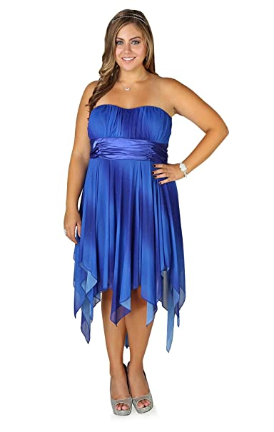 Deb Junior Plus Size Ombre Glitter Strapless Prom Dress with ...