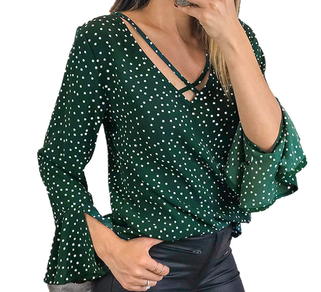 MENOW Fashion Women's Bell Sleeve Loose Polka Dot Shirt Ladies Casual Blouse Tops MENOW -DRESS NO.1