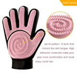 FASTDEER Pet Grooming Glove Gentle Deshedding Brush Glove Imitating Cat Tongue(Pink).Perfect for Dogs & Cats with Long & Short Fur - 1 Pack