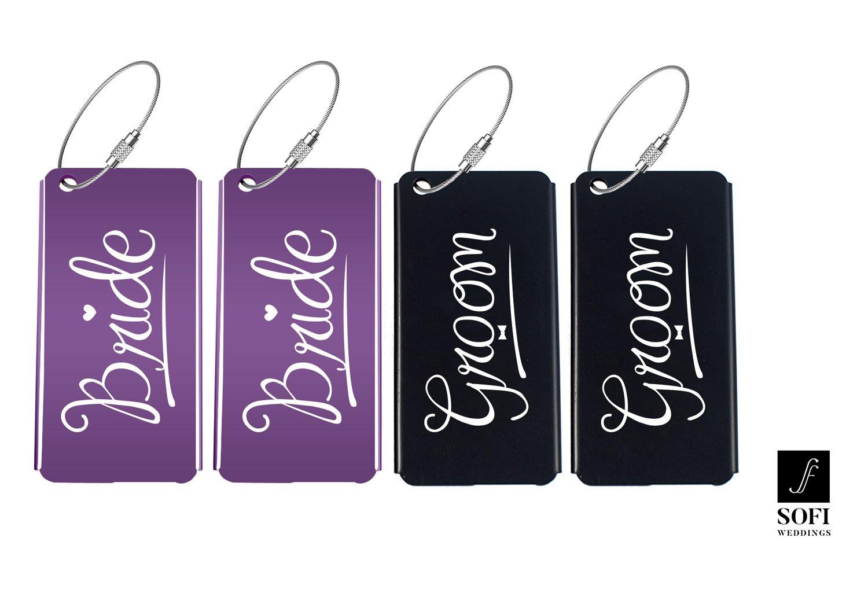 Elegant Bride Groom Luggage Tags for Wedding Gift & Bridal Shower Gifts Metal Finish (Purple, Purple & Black, Black, 2 Brides & 2 Grooms)
