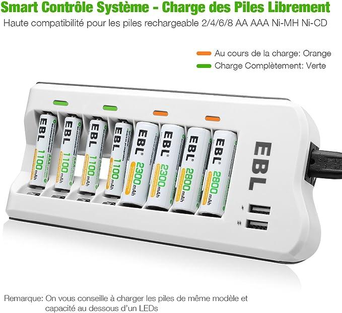 EBL Chargeur de Piles AAAAANi CDNi MH Rechargeable Rapide 8 Slots avec 2 USB Ports