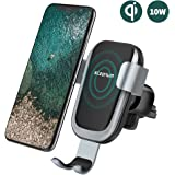 steanum Wireless Car Charger, Qi Fast Wireless Car Charger Phone Holder Car Vent Mount Gravity Sensor 360°Rotating Compatible with Samsung s10/s9/s9+/s8/s8+/S7/s6, iPhone 8/8+/X/XS/XS Max/XR