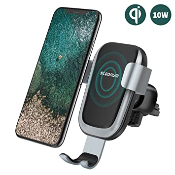 Cargador Coche Inalámbrico, Steanum Qi Rápida Cargador Inalámbrico para Coche Sensor Gravedad 360° Rotación para Samsung S9/S9+/S8/S8+/S7/S6 Edge+, ...