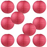 "WYZworks Round Paper Lanterns 10 Pack (Red, 8"") - with 8"", 10"", 12"", 14"", 16"" option"