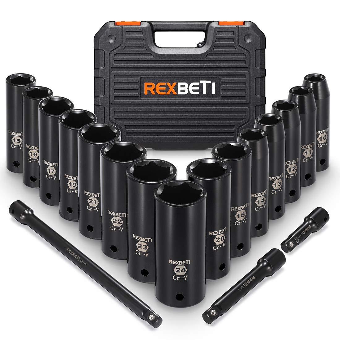 Laser-etched Markings REXBETI 1//2-Inch Drive Deep Impact Socket Set 6 Point Metric CR-V 18-Piece Set