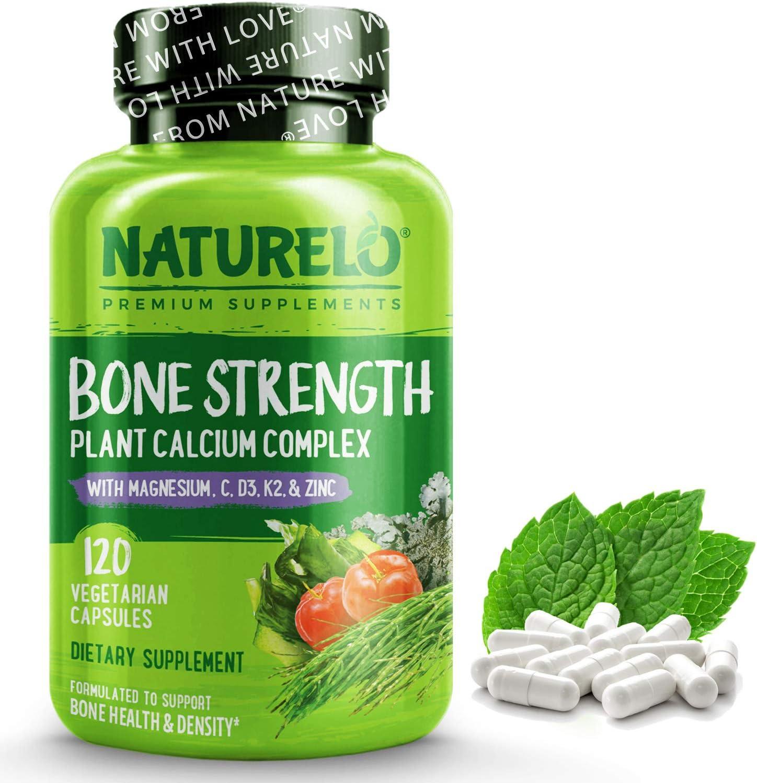 Naturelo Bone Strength With Plant Calcium Magnesium Vitamins C D3 K2 Best Whole Food Supplement For Bone Health 120 Vegetarian Capsules Amazon Ca Health Personal Care