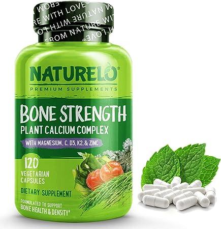 NATURELO Bone Strength - Plant-Based Calcium, Magnesium, Potassium, Vitamin D3, VIT C, K2 - GMO, Soy, Gluten Free Ingredients - Whole Food Supplement for Bone Health - 120 Vegetarian Capsules