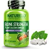 NATURELO Bone Strength - Plant-Based Calcium, Magnesium, Potassium, Vitamin D3, VIT C, K2 - GMO, Soy, Gluten Free Ingredients