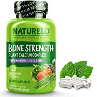 NATURELO Bone Strength - Plant-Based Calcium, Magnesium, Potassium, Vitamin D3, VIT C, K2 - GMO, Soy, Gluten Free Ingredients - Best Whole Food Supplement for Bone Health - 120 Vegetarian Capsules