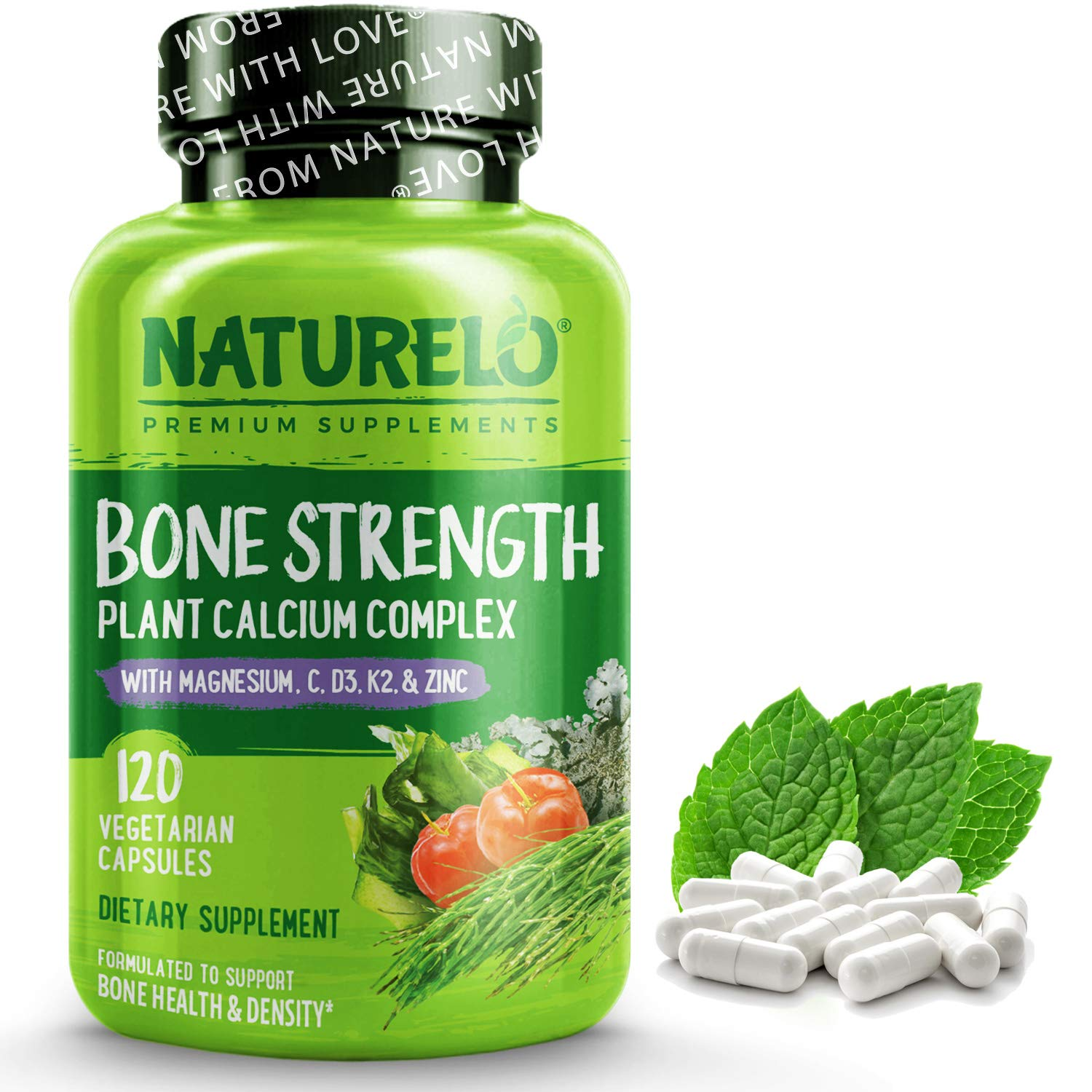 NATURELO Bone Strength - Plant-Based Calcium, Magnesium, Potassium, Vitamin D3, VIT C, K2 - GMO, Soy, Gluten Free Ingredients - Whole Food Supplement for Bone Health - 120 Vegetarian Capsules