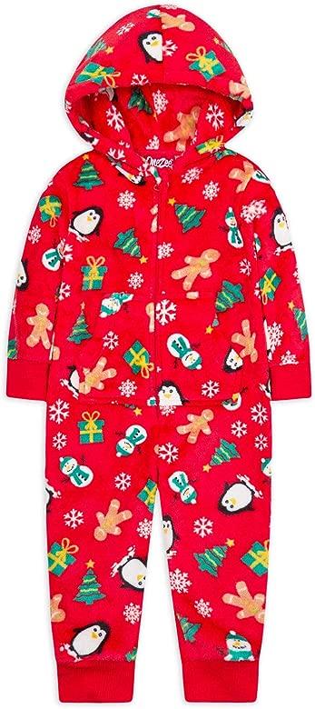 Girls 1Onesie1 Boys 1Onesie1 All In One Jumpsuit Hooded Zip PJ Ages 3-13 Years