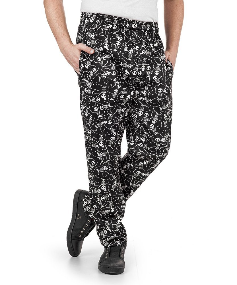 Men's Chef Pant, Boneyard Print (XS-3X) (Large)