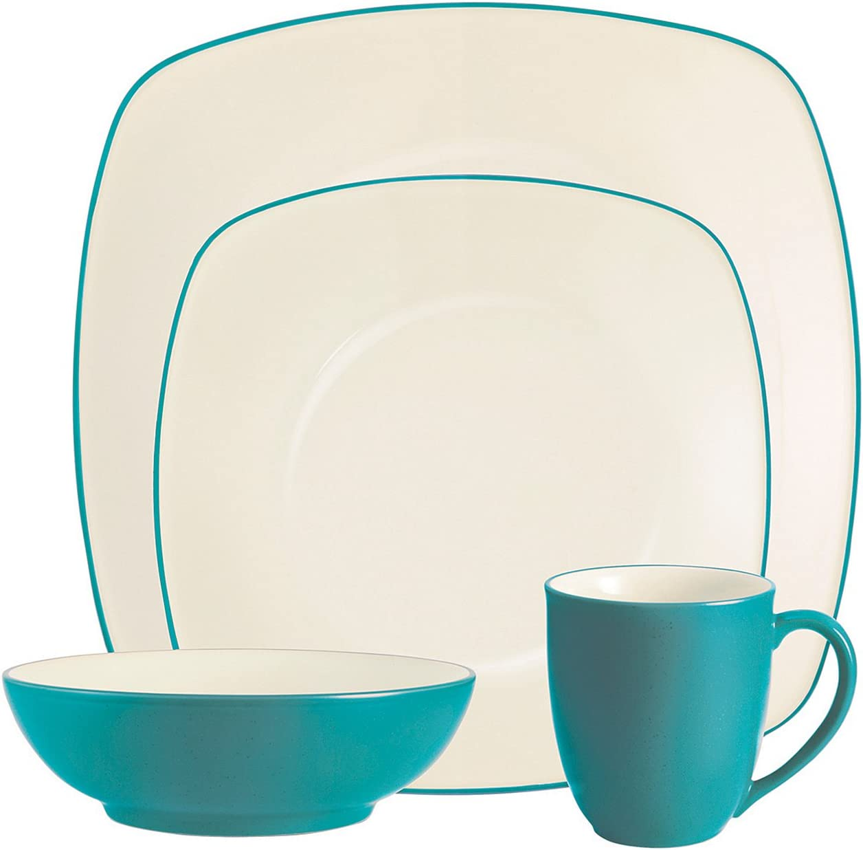 Noritake Colorwave Turquoise 4-Piece Place Setting, Square Shape