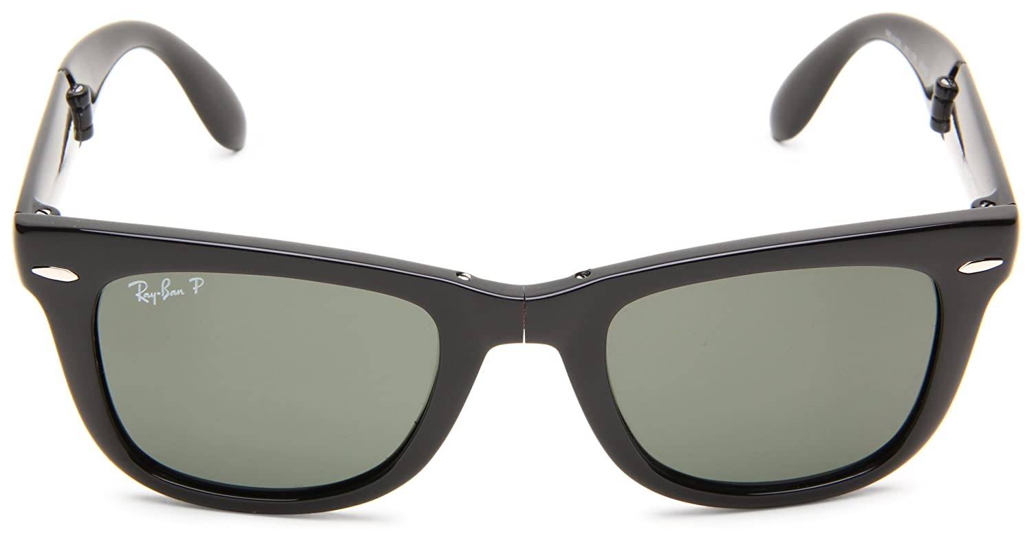 ray ban folding wayfarer tortoise sunglasses  amazon: ray ban folding wayfarer black frame crystal green polarized lenses 50mm polarized: ray ban: clothing