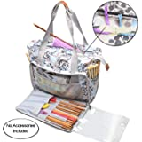 Teamoy Knitting Bag, Travel Yarn Storage Tote Organizer for Yarn, Unfinished Project, Crochet Hooks, Knitting Needles and Accessories, Lightweight, Water-resistant, Large Capacity, Dandelion