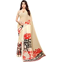 SAMAH Women'S Georgette Printed Saree With Unstitched Blouse