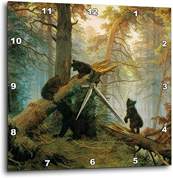 3dRose DPP_52267_1 Vintage 1889 Bear Painting by Ivan Shishkin Morning in a Pine Forest Wall Clock, 10 x 10