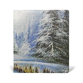 ALAZA Pittura di paesaggio invernale in pelle di Natale riutilizzabile Copertina 9 x 11 pollici per le medie e Jumbo Dimensioni Rilegato testi scolastici Libri di testo