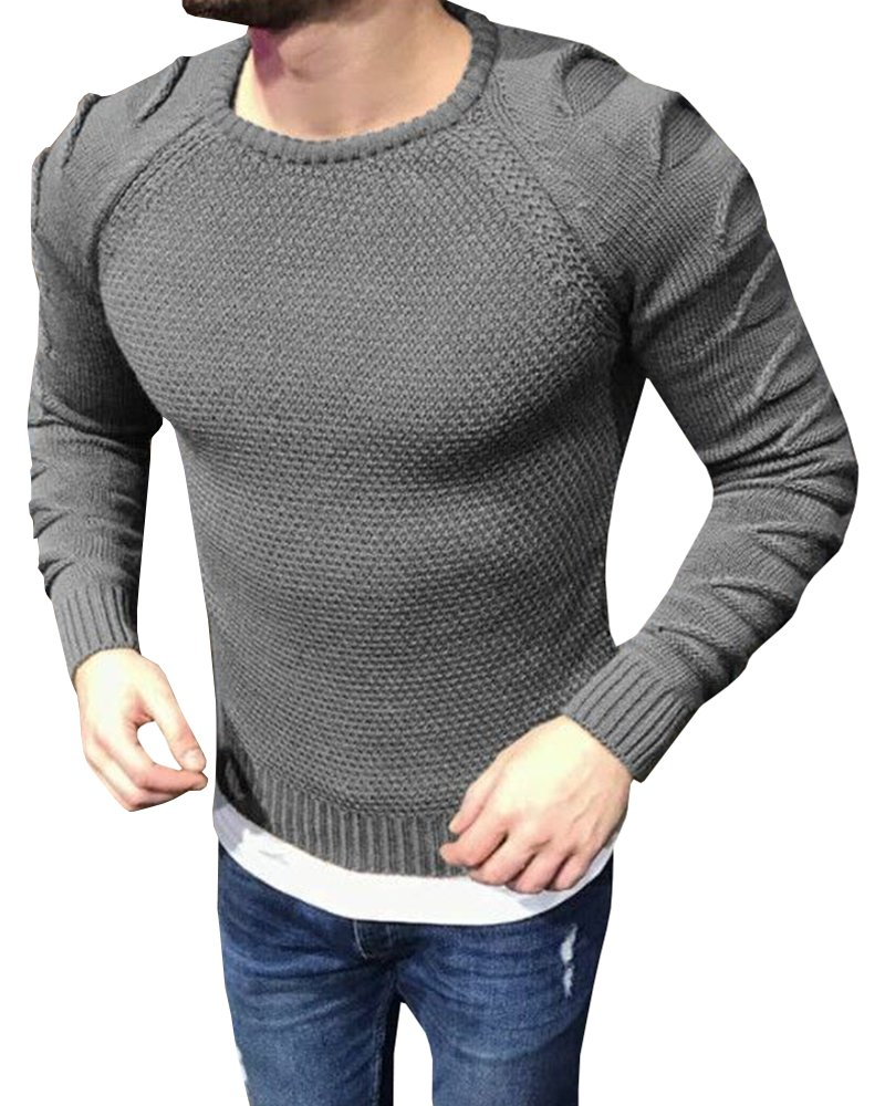 EastLife Mens Ribbed Knitted Pullover Crew Neck Long Sleeve Cut Out Light Weight Sweaters