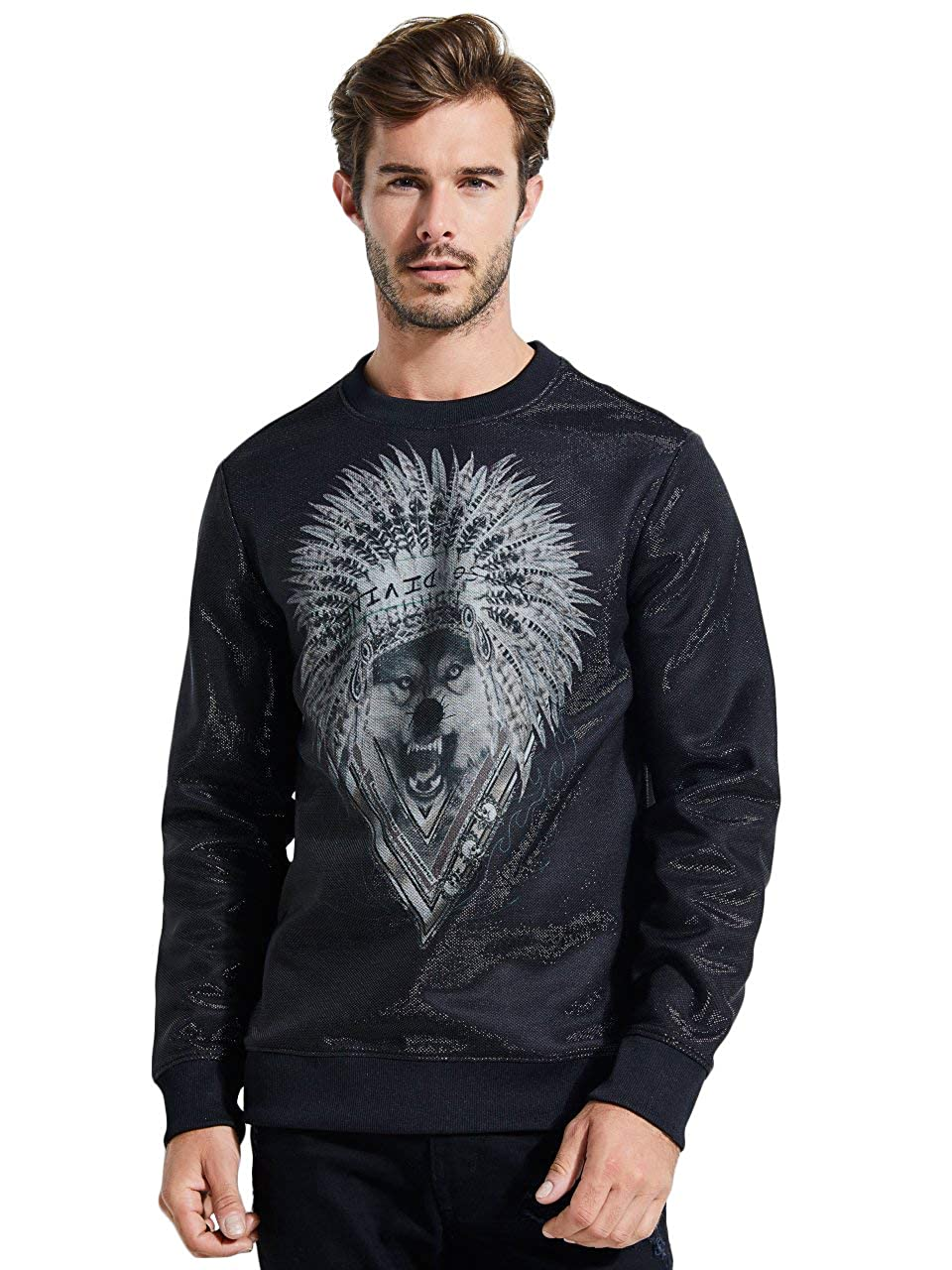 GUESS Mens Long Sleeve Luther Wolf Crew Neck Shirt