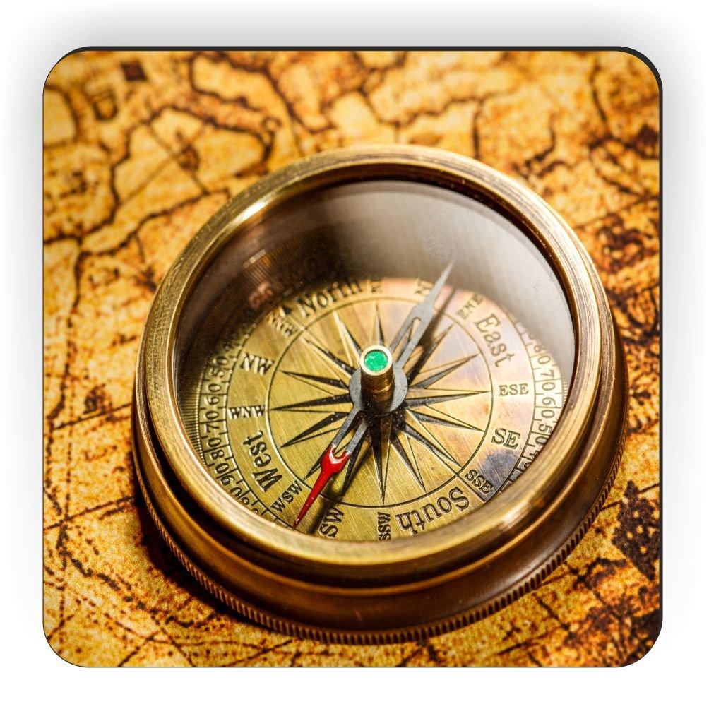 Rikki Knight Vintage Compass Lies On Ancient World Map Design Square Fridge Magnet