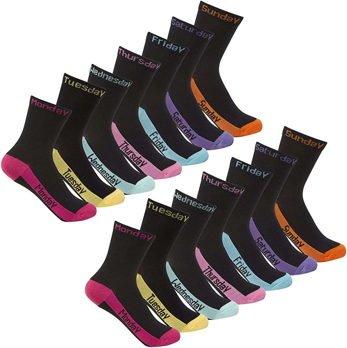 Girls Days of The Week Socks Novelty Trainer Liners 14 Pair Street Essentials