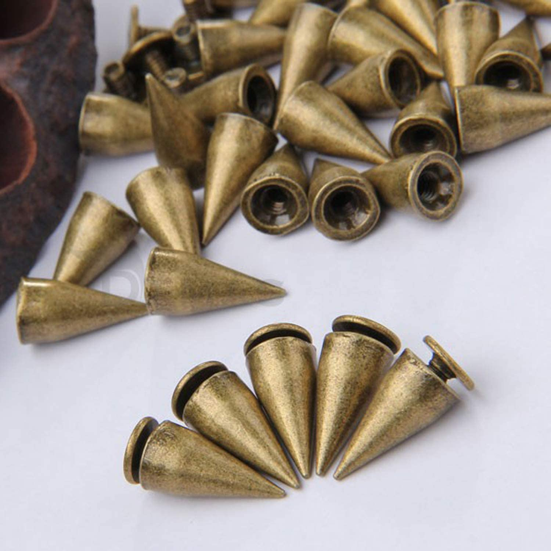 RUBYCA 30 Sets 14MM Black Gunmetal Color Bullet Cone Spike Stud Metal Screw Back DIY Leather-Craft